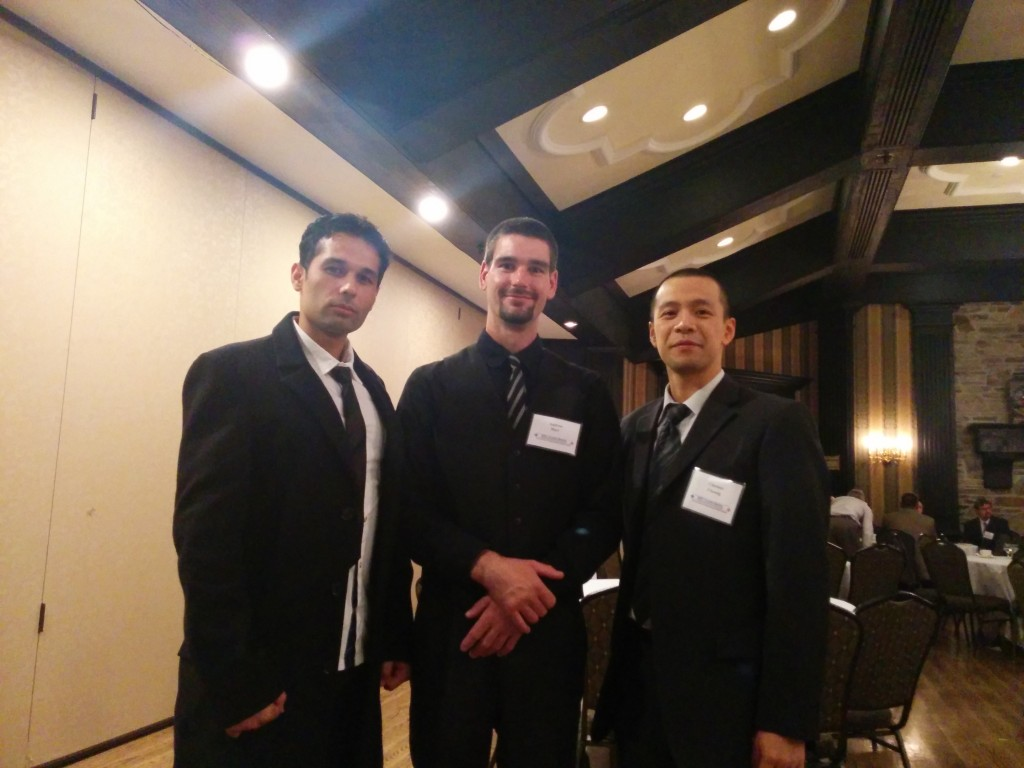 Professor Clarence Cheung (right) with students Andrew Hart (centre) and Navid Rasouli, Centennial IEEE Student Branch Chair, at the IEEE Toronto Section AGM.